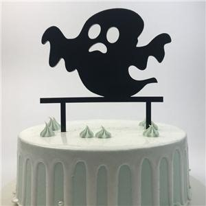 Black Acrylic Halloween Birthday Cake Topper