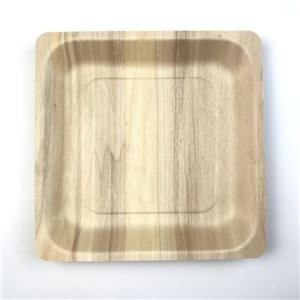 10 Square Wooden Dinner Plates Disposable
