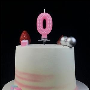 Decorative Pink Polka Dot Birthday Number Candle For Party