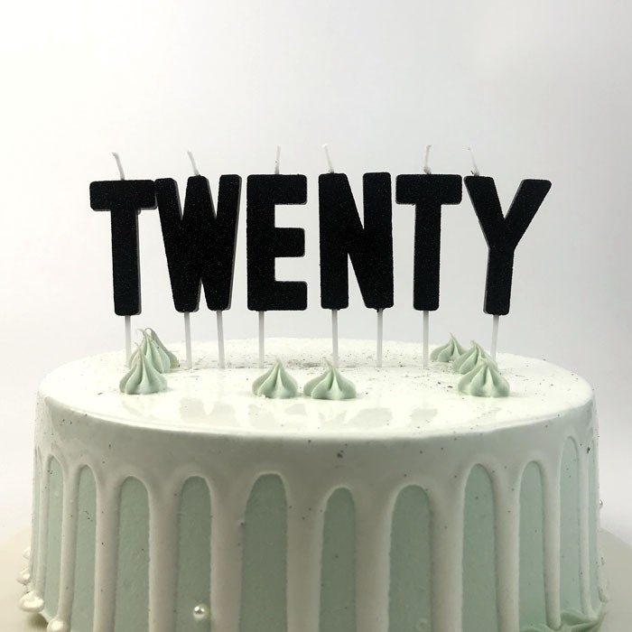 Black Glitter Twenty Alphabet Shaped Birthday Party Cake Candles