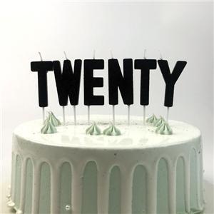Bougies de gâteau d'anniversaire en forme de paillettes noires Twenty Alphabet