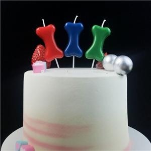 Colorful Bone Shape Candle For Pet Birthday 4 Pack