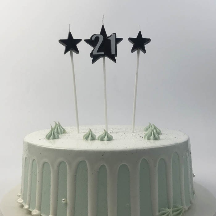 Black Number 21 Birthday Cake Candles With Stars On Picks