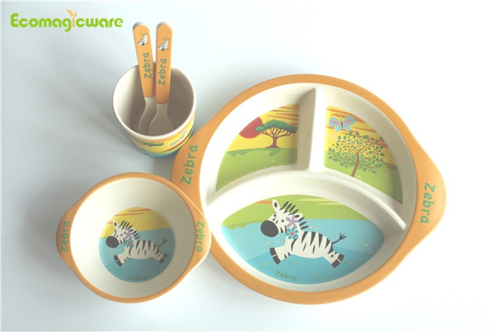 Biodegradable Kids Bamboo Fiber Tablerware Sets