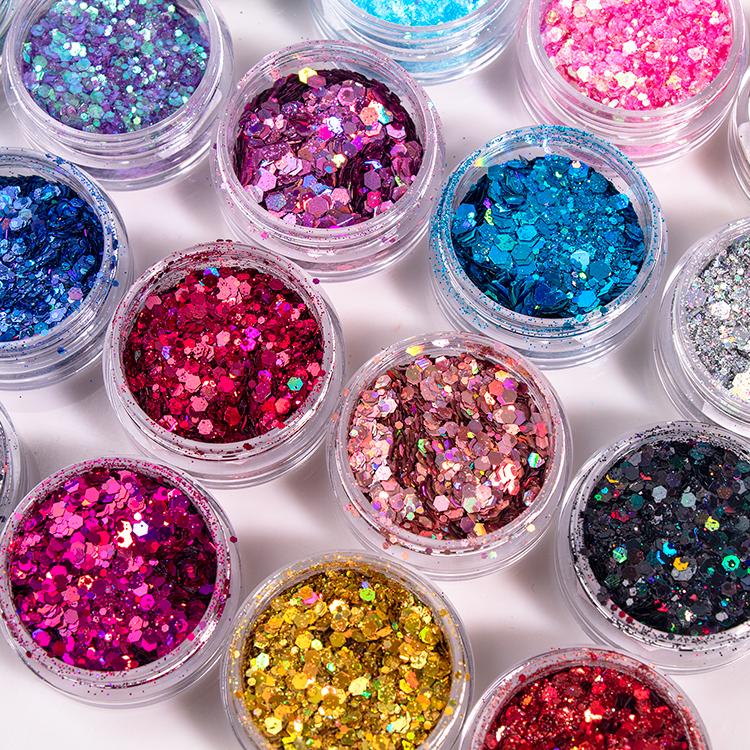 20 Renk ile Düşük Adedi Yüksek Kaliteli Makyaj Gevşek Glitter Özel Etiket