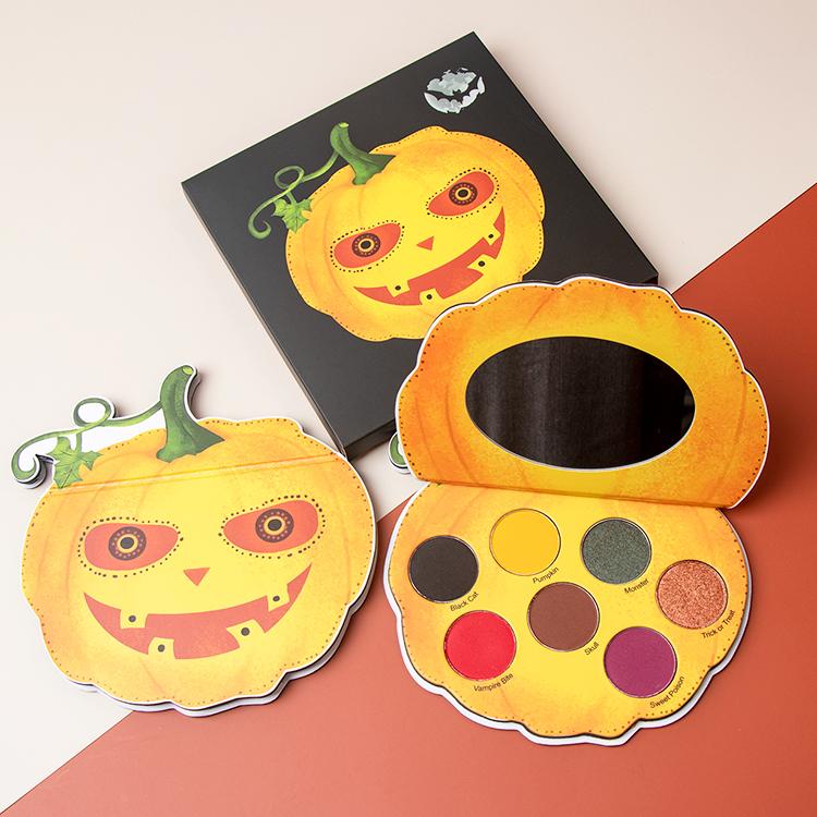 7-pan Halloween Pumpkin Shaped Pigmented Makeup Eyeshadow Palette Custom