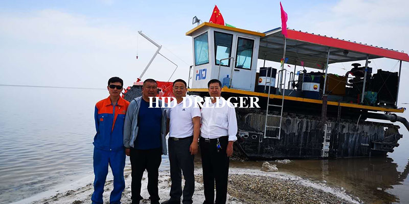 Salt Mine Dredger In Lake Water And On Land Factory