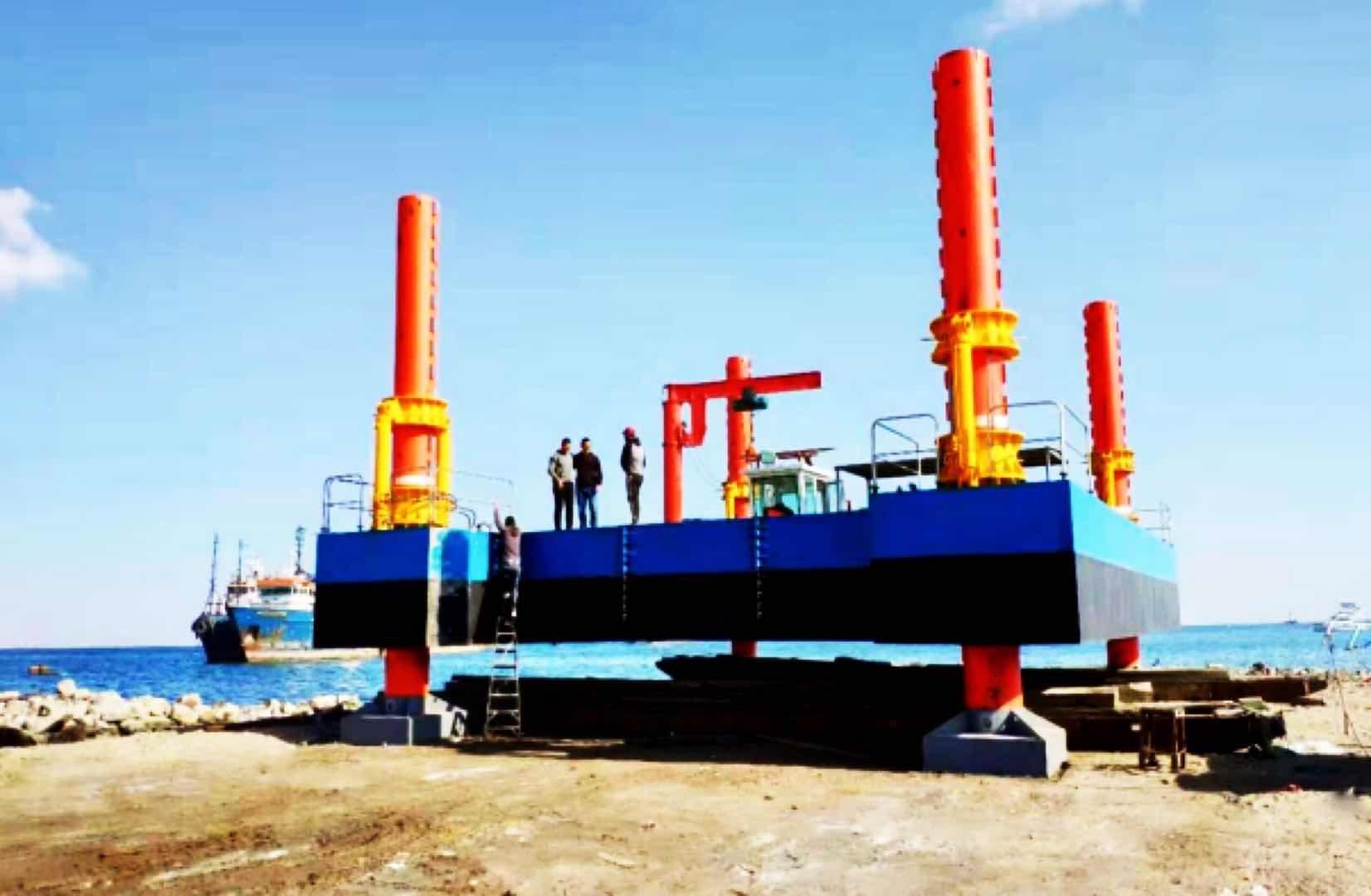 Grúa de cubierta pesada / excavadoras que soportan plataformas de pontones con patillas