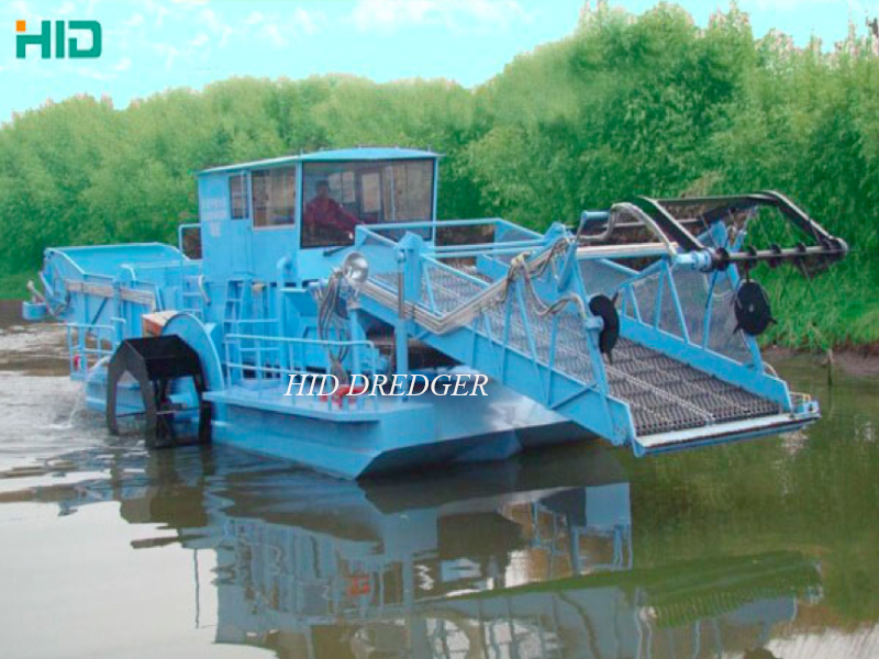 Garbage Salvage boat in river and lake