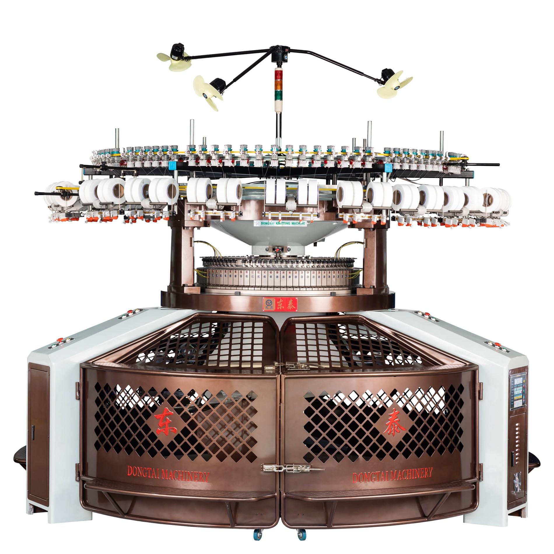 Máquina de tricô circular de largura dupla e alta velocidade