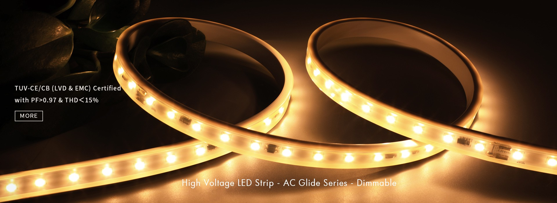 High Voltage LED Strip - AC Glide Series - Dimmable