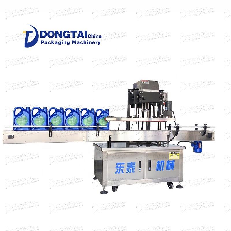 Yüksek verimli otomatik plastik şişe kapatma makinesi, yağlama yağı / hurma / bitkisel yağ şişesi kapatma makinesi