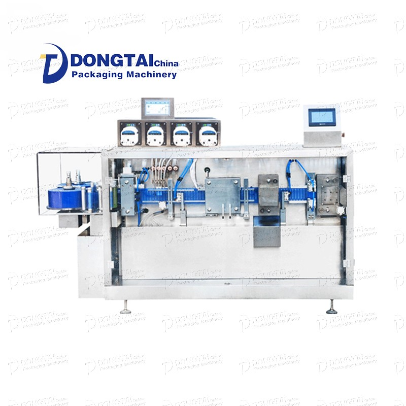 Automatic plastic ampoule filling and sealing machine