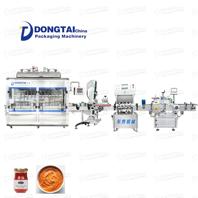 Automatic chili sauce filling machine automatic tomato sauce peanut oil filling and labeling machine