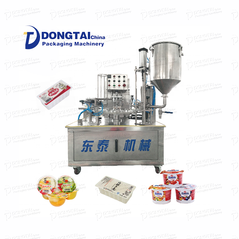Automatic milk mini rotary cup sealing machine, tofu/jelly sealing machine Plastic cup sealing machine