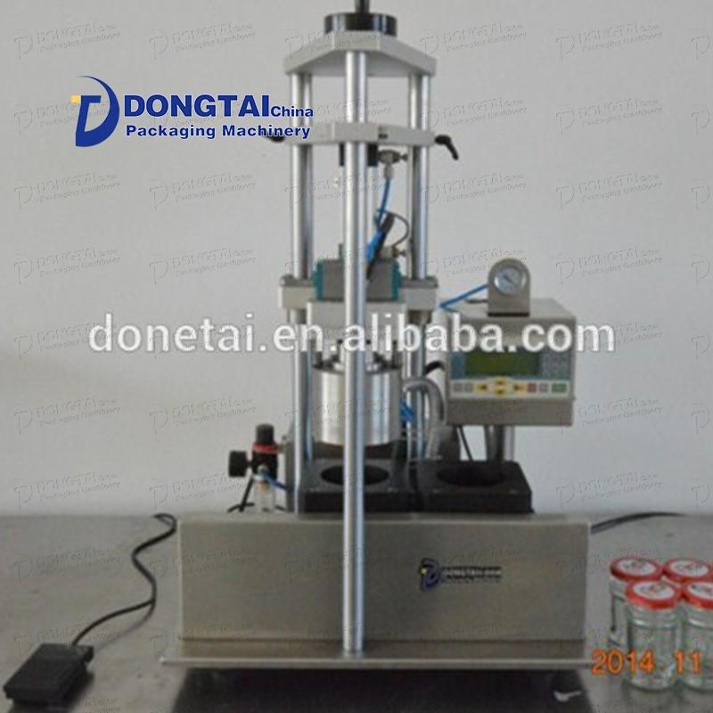 Yarı otomatik cam şişe kapatma makinesi Kavanoz kapatma makinesi Vakumlu kapatma makinesi