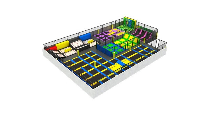 Indoor Commercial Trampoline Park With Basketball
