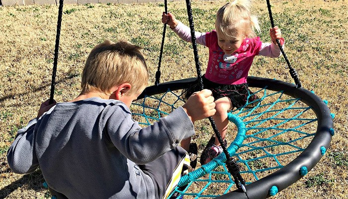 Outdoor Playground Swing Set With Plastic Slide