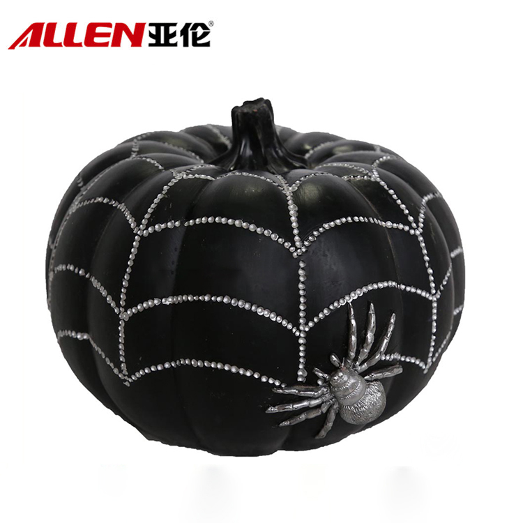 Halloween Decoration Black Resin Pumpkin With Spider