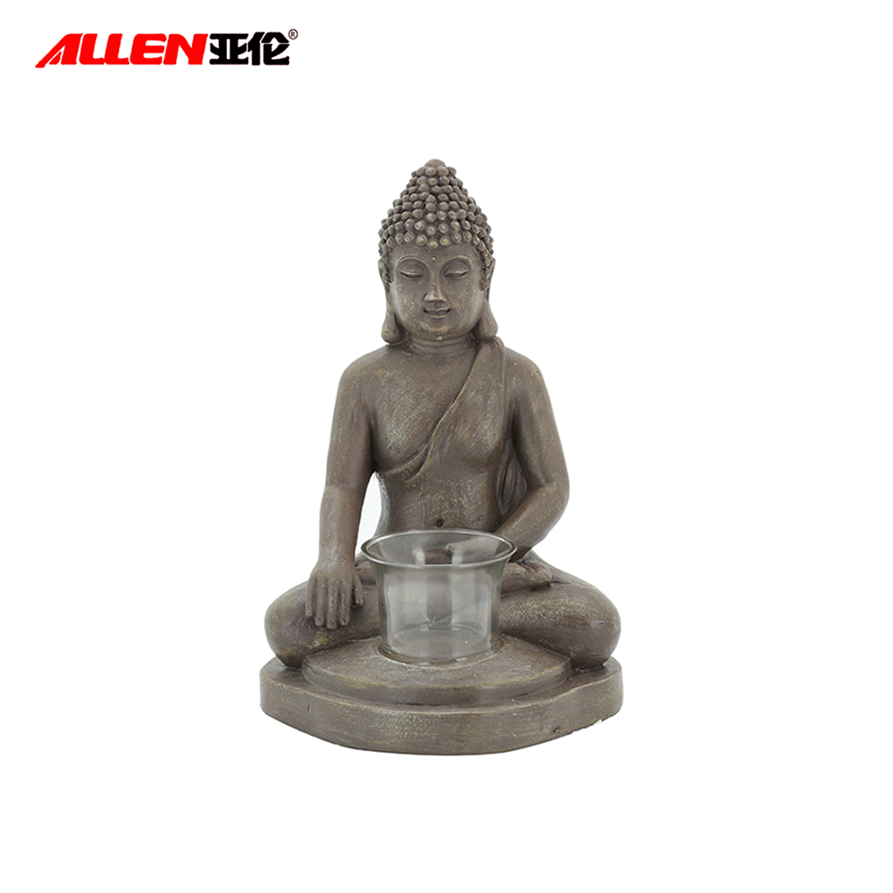 Resin Sitting Buddha Candle Holder For Home Decor