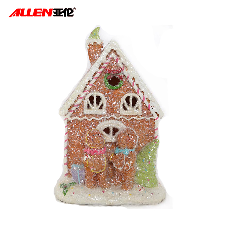 Resin Krismas Gingerbread Man House dengan cahaya Led