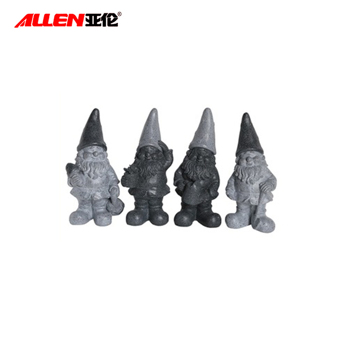 Stone Finish Unique Grey Resin Gnome For Garden Decoration