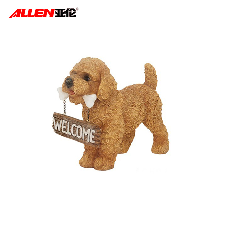 Holding Welcome Sign Resin Poodle Dog Figurine Decor