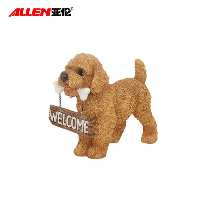 Держа Добро пожаловать Вход Resin Пудель собака Фигурка Decor