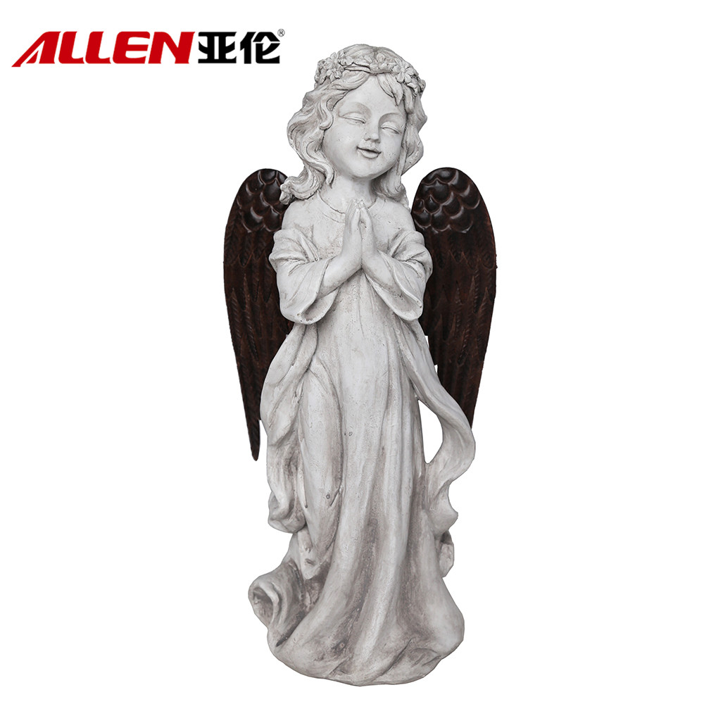 Garden Decor Polyresin Praying Angel Figurine With Metal Wings