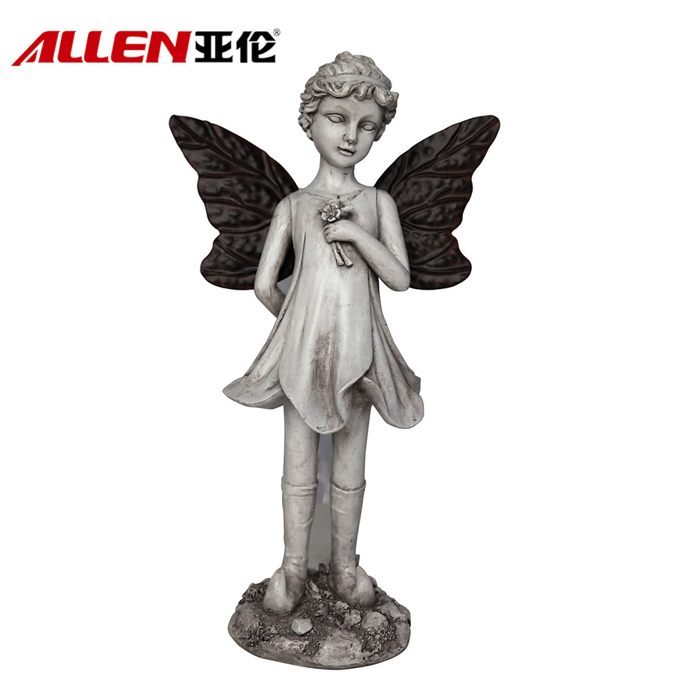 Personalized Garden Decoration Poyresin Angel With Metal Wing