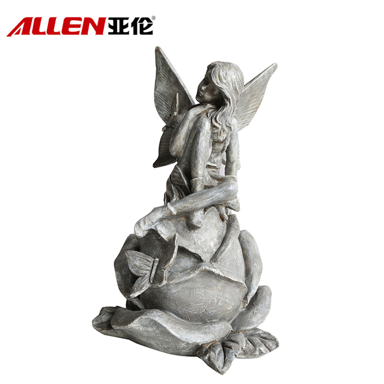 Garden Decoration Polyresin Fairy Figurine On Flower