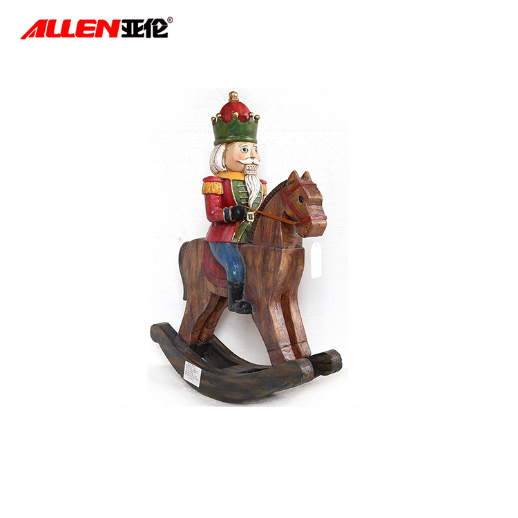 Resin Christmas Nutcracker Soldier Statu On Rocking Wooden Horse