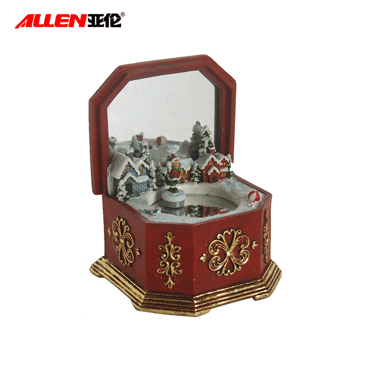 Saiz Custom Antique Ice Skating Tangan Crank Music Box