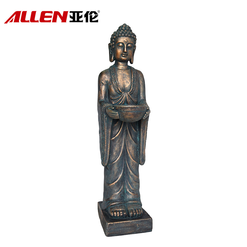 Outdoor Garden Decoration MGO Buddha Statues With Metal Bowl