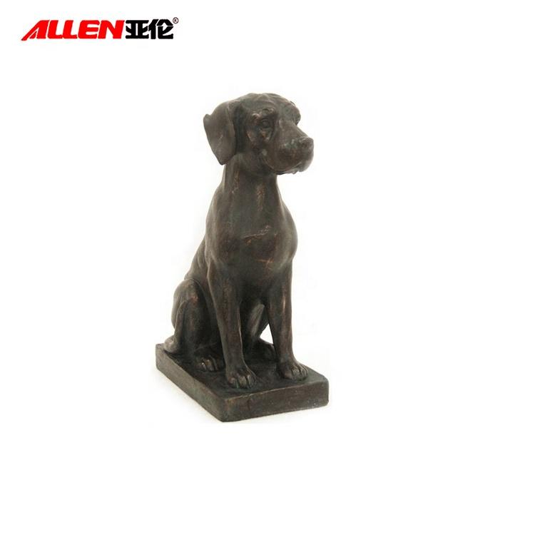 اليدوية الراتنج الأسود الحياة الحجم الكلب تمثال للديكور