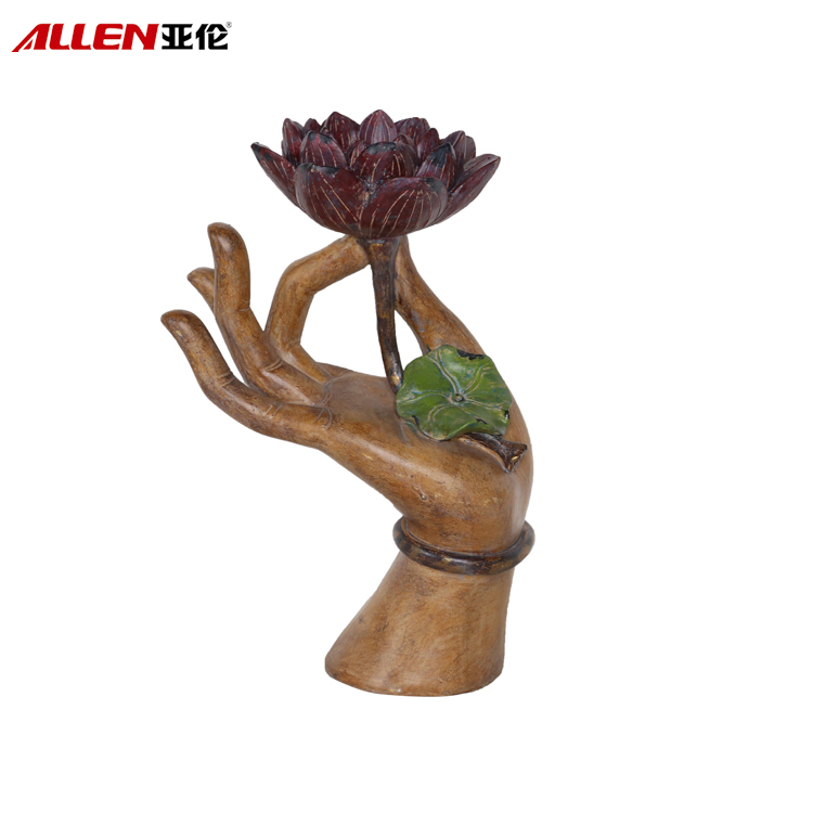 Polyresin Buddha Hand With Lotus Candle Holder