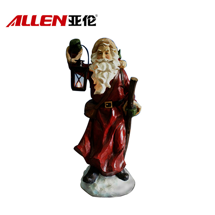 Handmade Christmas Decoration Craft Polyresin Santa With Light