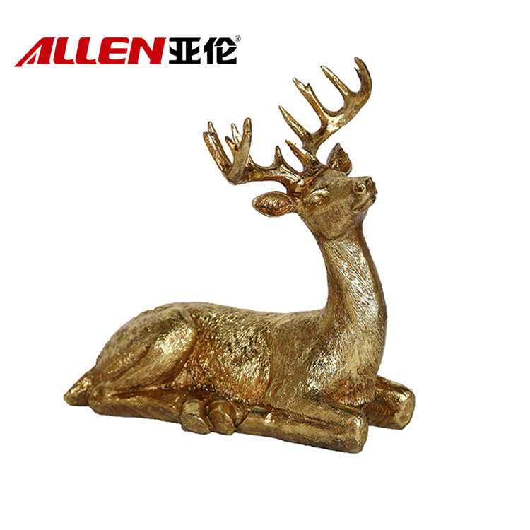 9inch Height Sitting Christmas Resin Reindeer For Home Decoration