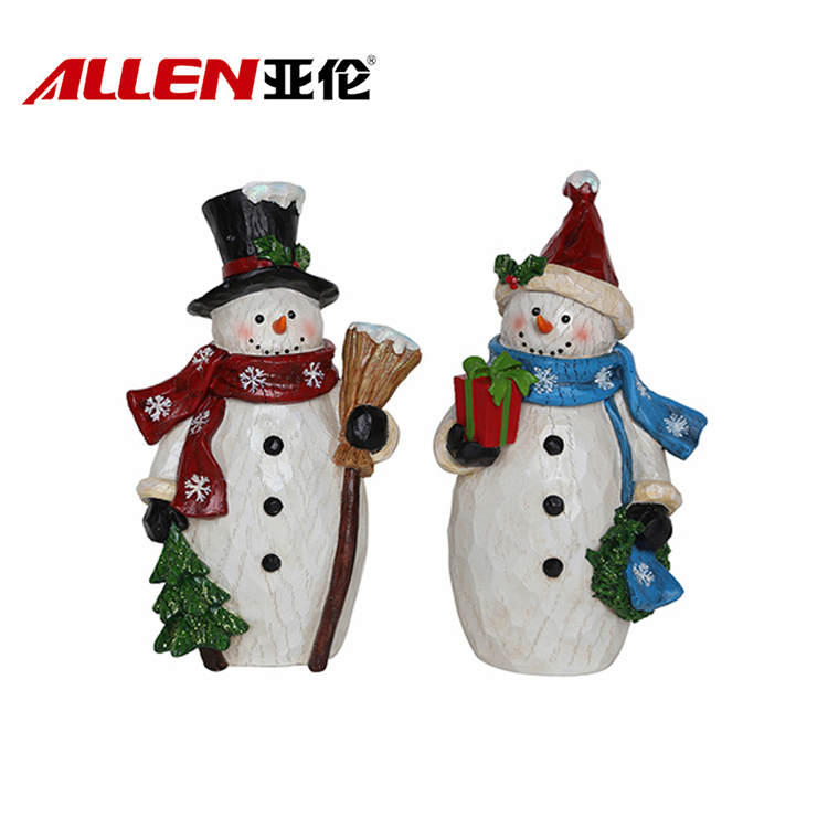 Standing Snowman Sculpture Resin Christmas Decorations