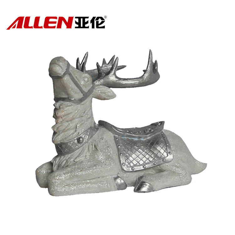 Latest Design 12.4inch Length Resin Reindeer Statue For Christmas Decoration