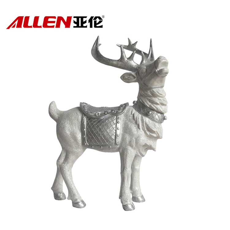 Eco Friendly Artificial Sculpture Resin Reindeer Statue For Holiday Decoration