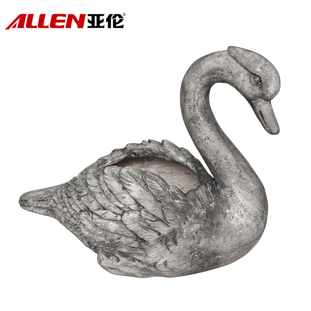 Outdoor Garden Decorative MGO Swan Planter Pot