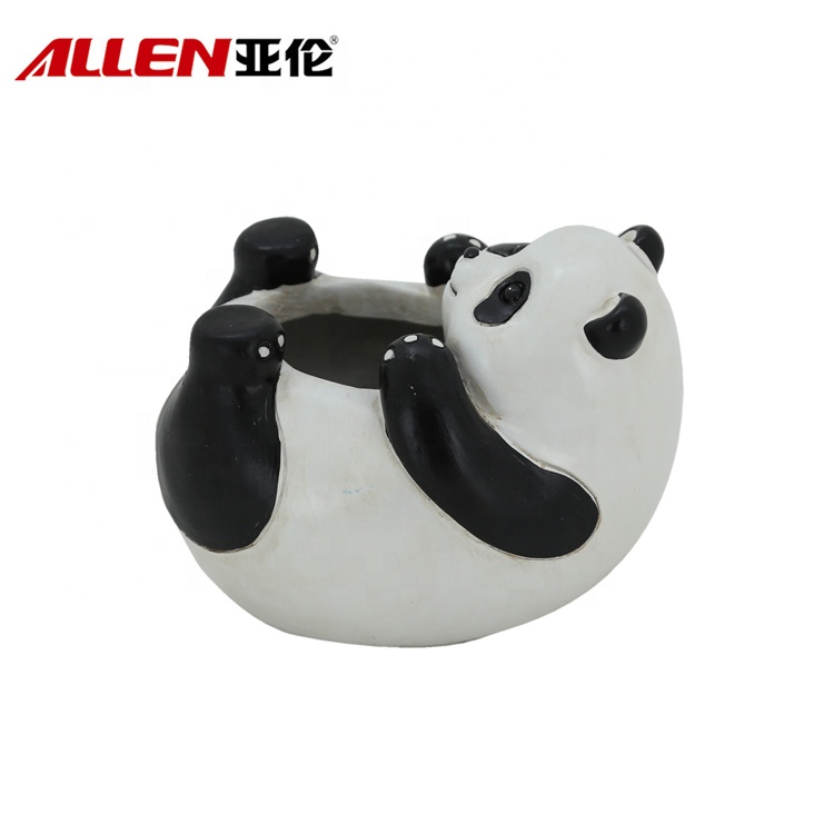 Cartoon Polyresin Panda Flower Planter Pot For Indoor Decor