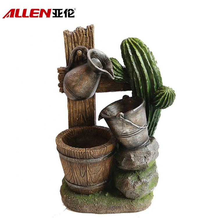 Garden Outdoor Decoration Fiberglass Tropical Barrel Water Fountain