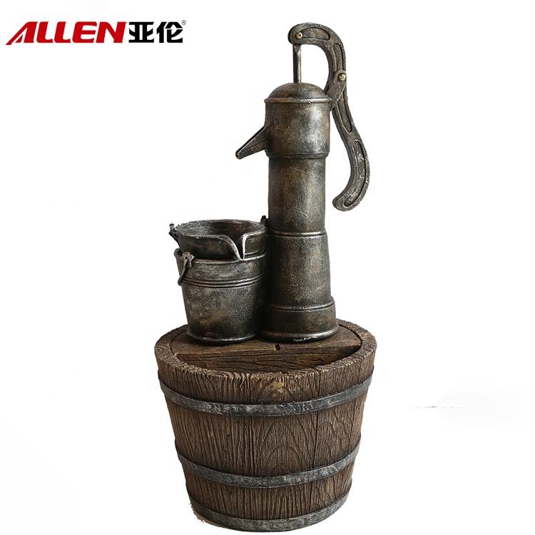 China fiberglass tropical barrel water fountain