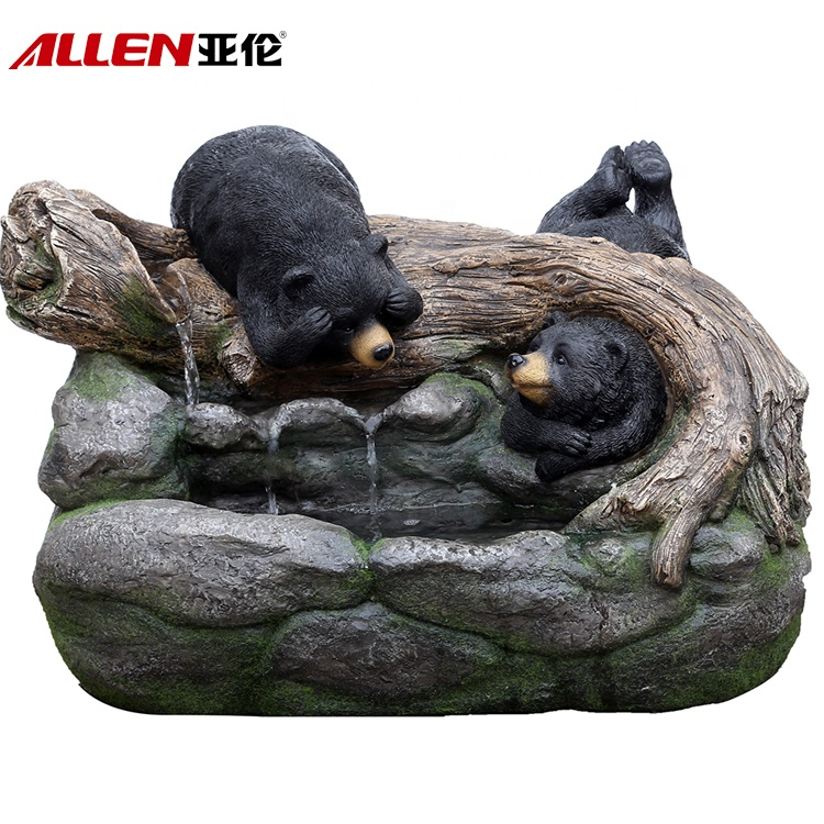 Fonte de água para a decoração Black Bear Fiberglass Jardim animal