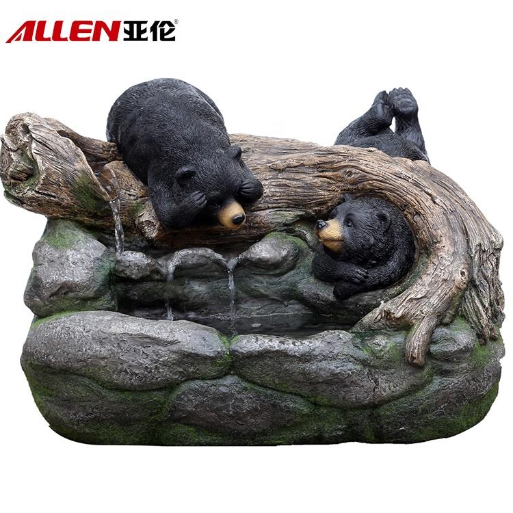 Black Bear Fiberglass Garden Animal Water Fountain For Decor