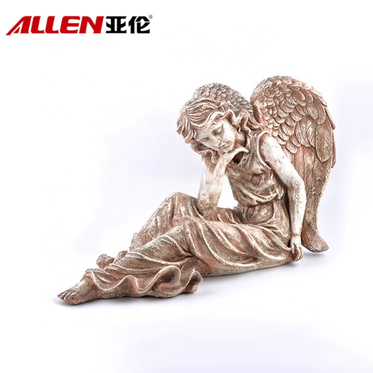 Beautiful Large Sitting Resin Angel Garden Statues For Decor