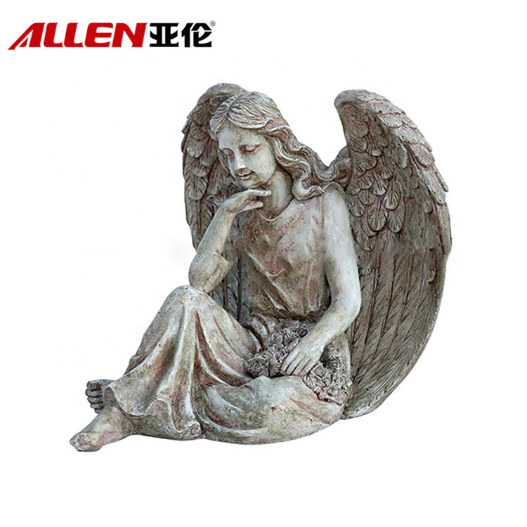 Beauty Decoration Life Size Elegant Angel Polyresin Statue
