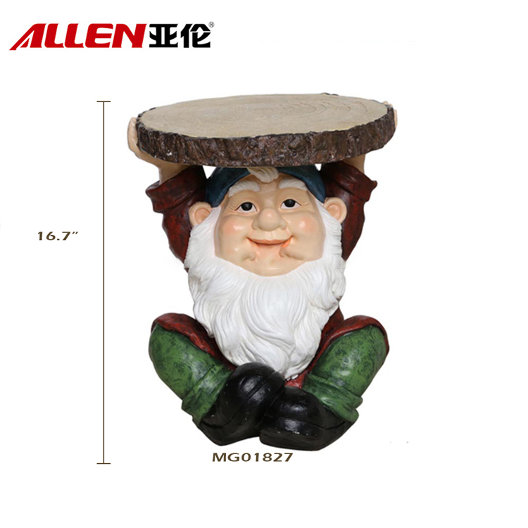 Funny Garden Gnome Figurine With Stump